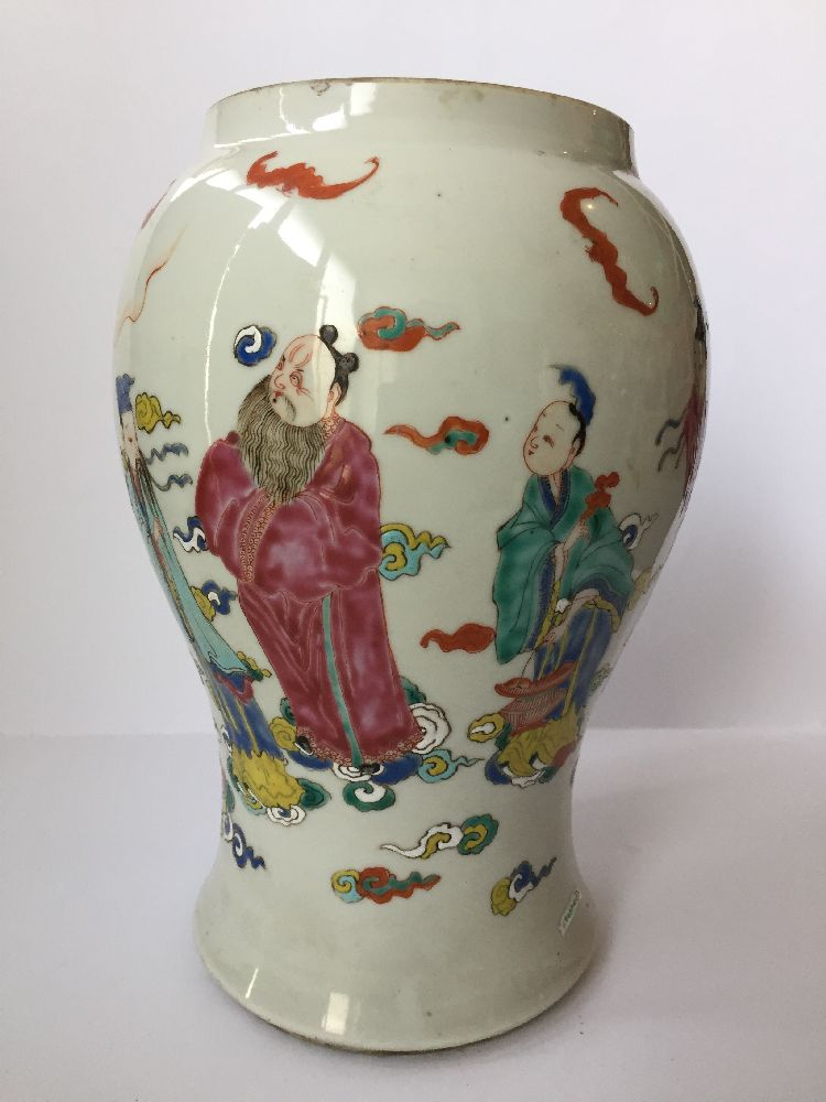 A pair of Chinese porcelain vases, Yongzheng period, painted in famille rose enamels with five of - Image 10 of 14