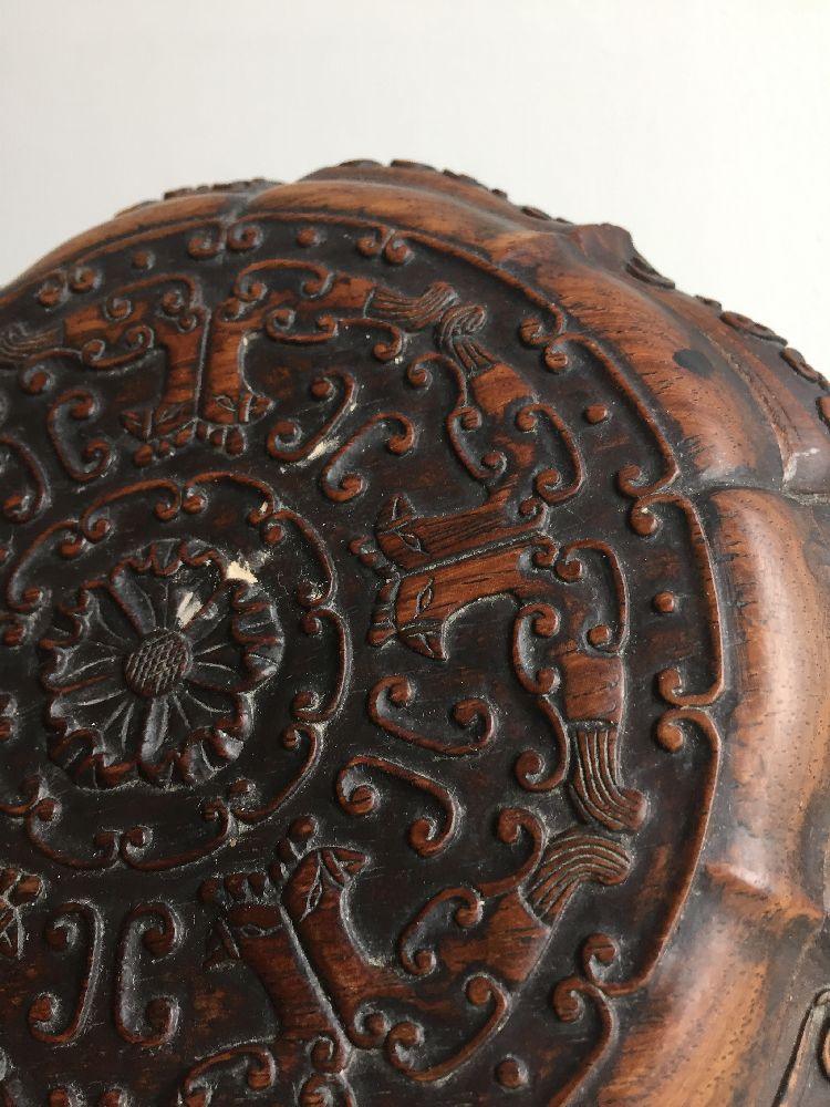A Chinese carved suanzhi wood treasure box and cover, 18th/19th century, of decagonal lobed form - Image 18 of 24