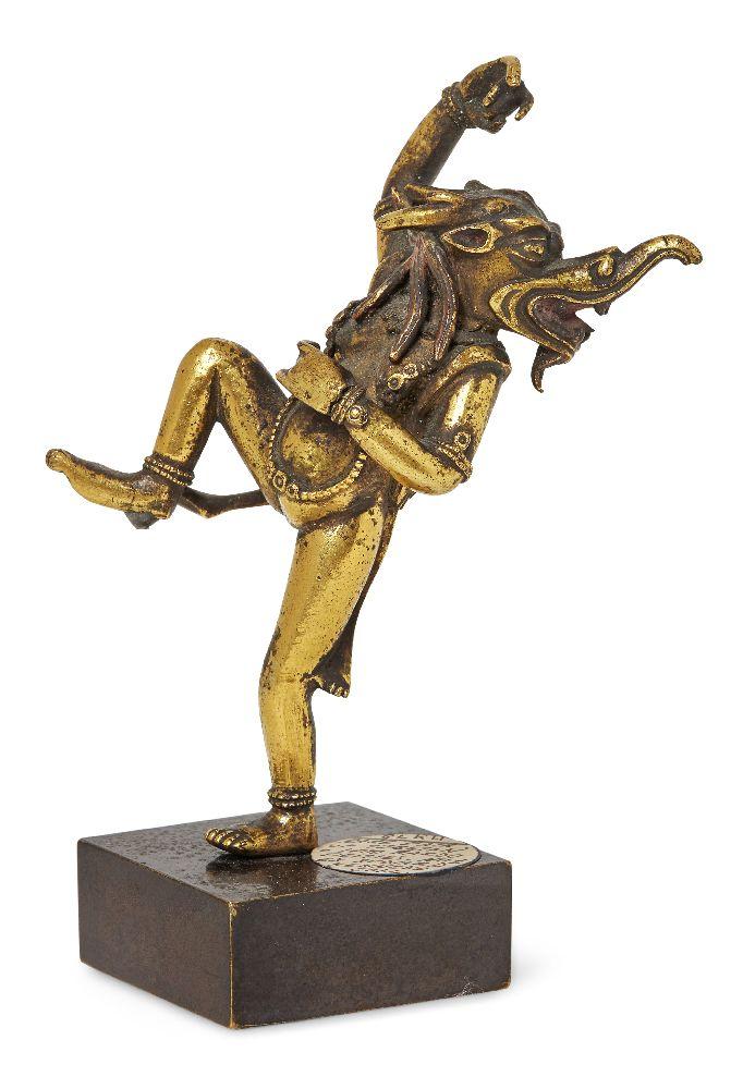 Property of a Gentleman (lots 36-85) A Tibetan gilt-bronze bardo Makara-headed dancing deity, 17th