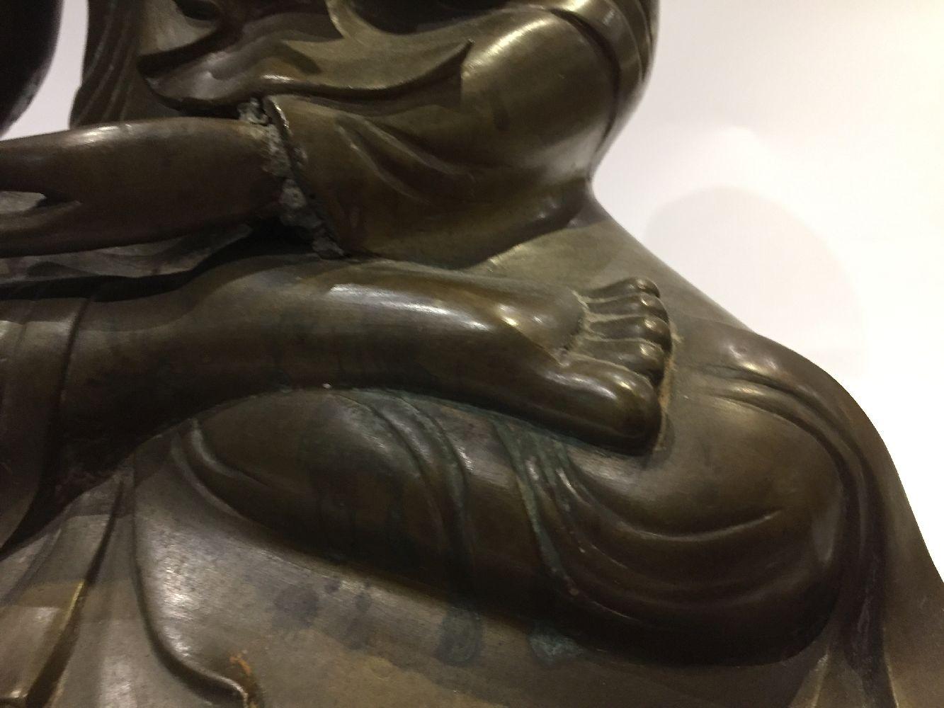 A Burmese bronze figure of Buddha, Mandalay period, 19th century, finely cast seated in vajrasana, - Image 6 of 28