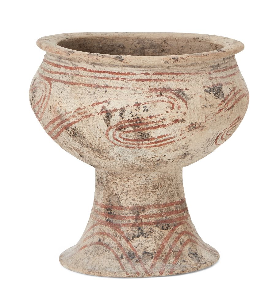 A Thai clay Ban Chiang-type stem bowl, early 20th century, with broad mouth, bulbous body and flared