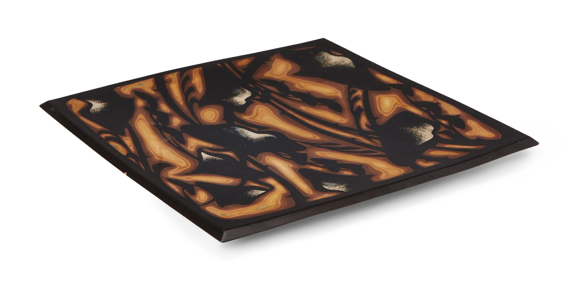 A Japanese lacquer square plate, 20th Century, decorated with layered lacquer ground down in