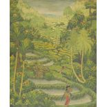 WYDARSANA SAYANKUTUH (BALINESE, 20TH CENTURY), small oil on canvas, forest landscape with figures,