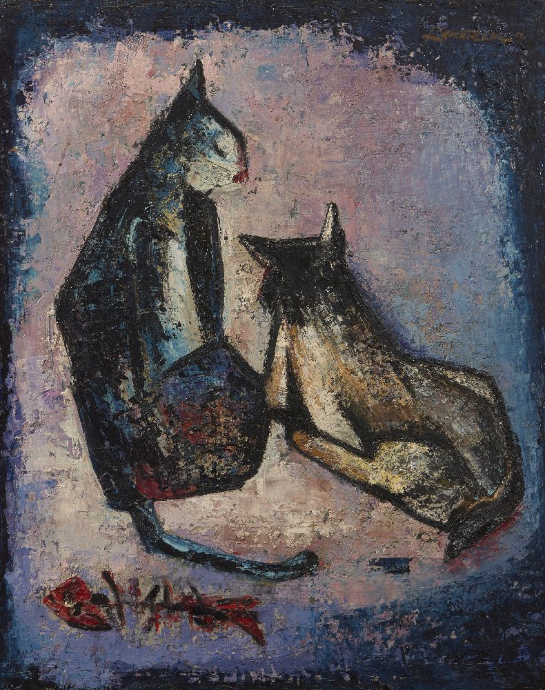 SIM KERN TECK (SINGAPOREAN, 1931-2015), oil on board, abstract study of cats, 51.5x41.5cm, signed - Image 2 of 2