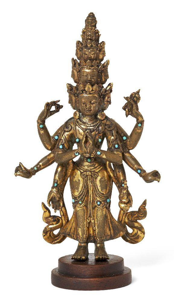 Property of a Gentleman (lots 36-85) A Sino-Tibetan gilt-bronze turquoise inlaid standing figure