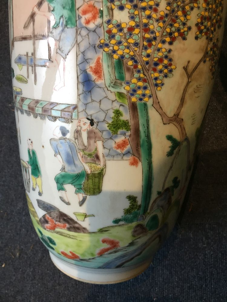 A Chinese porcelain 'silk production' rouleau vase, late Qing dynasty/ Republic period, painted in - Image 17 of 28