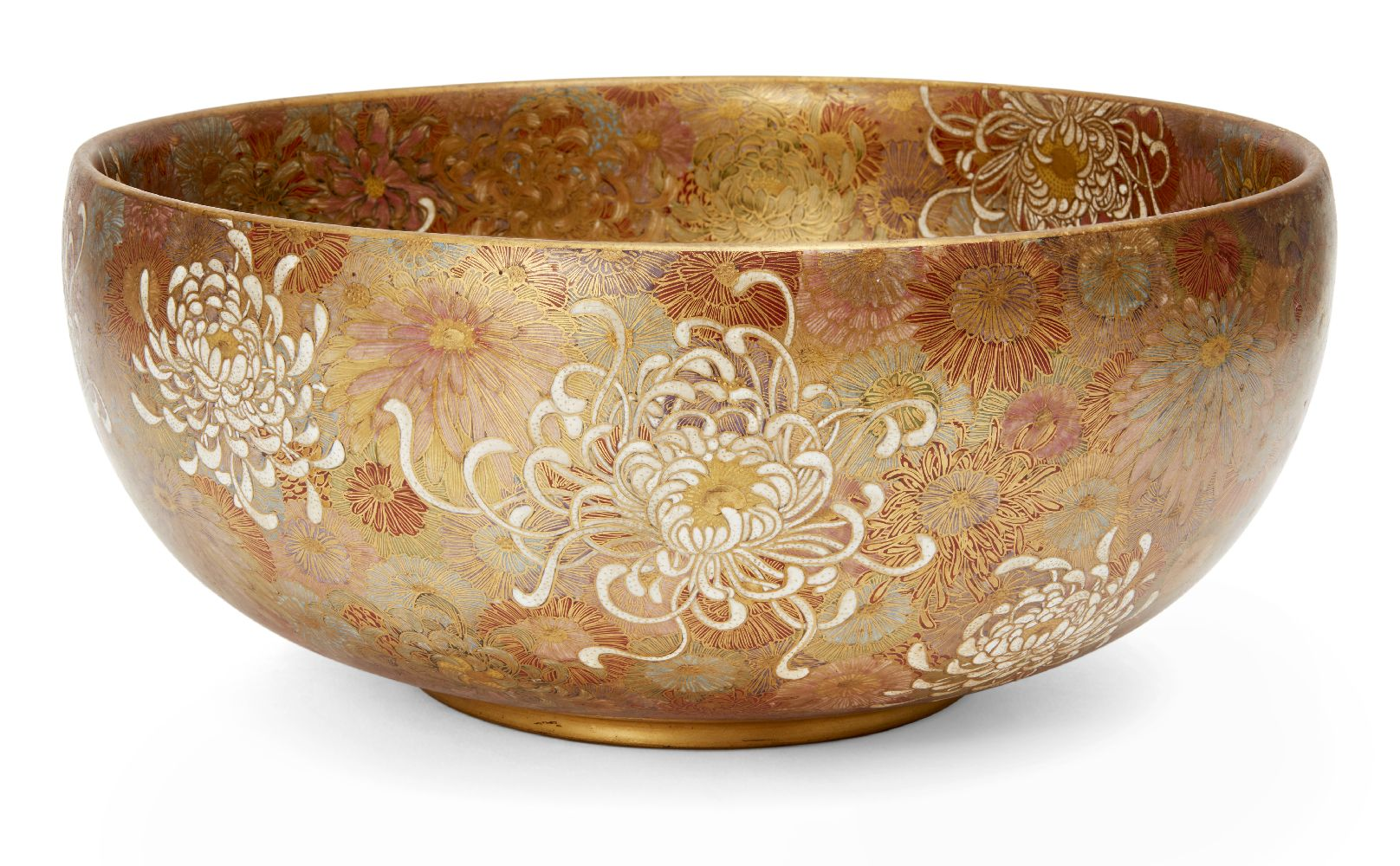 A Japanese Satsuma chrysanthemum bowl, Meiji period, decorated in gold, red, blue, green and