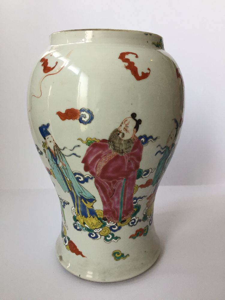 A pair of Chinese porcelain vases, Yongzheng period, painted in famille rose enamels with five of - Image 4 of 14