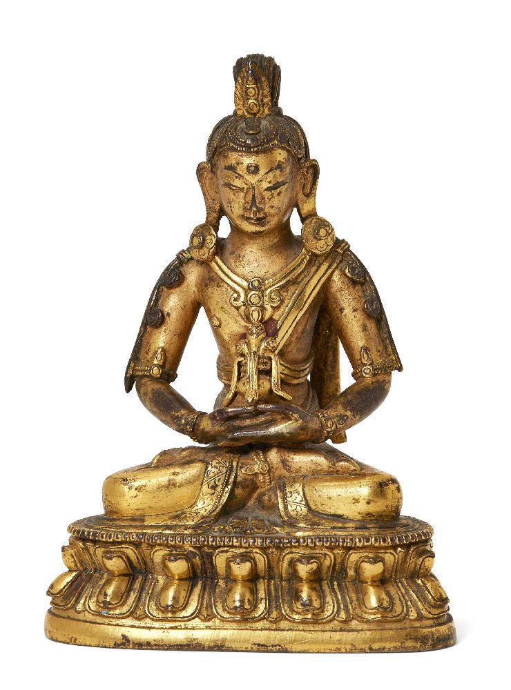 The following fifty lots (36-85) are The Property of a Gentleman A Sino-Tibetan gilt-bronze figure