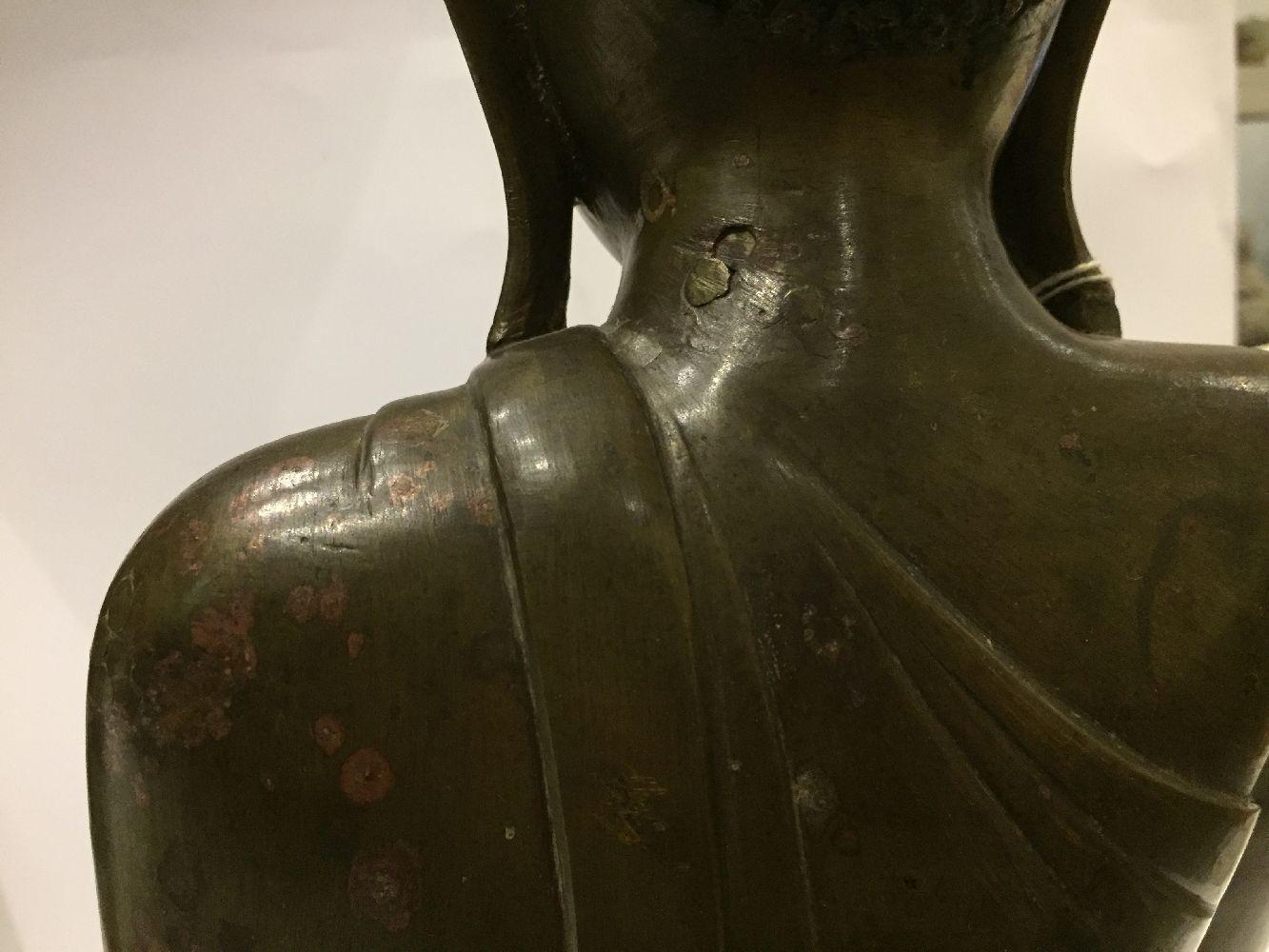 A Burmese bronze figure of Buddha, Mandalay period, 19th century, finely cast seated in vajrasana, - Image 16 of 28