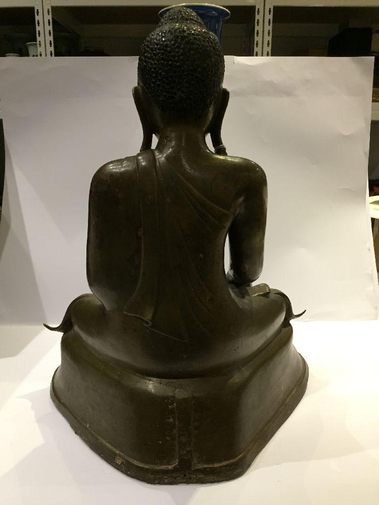 A Burmese bronze figure of Buddha, Mandalay period, 19th century, finely cast seated in vajrasana, - Image 10 of 28