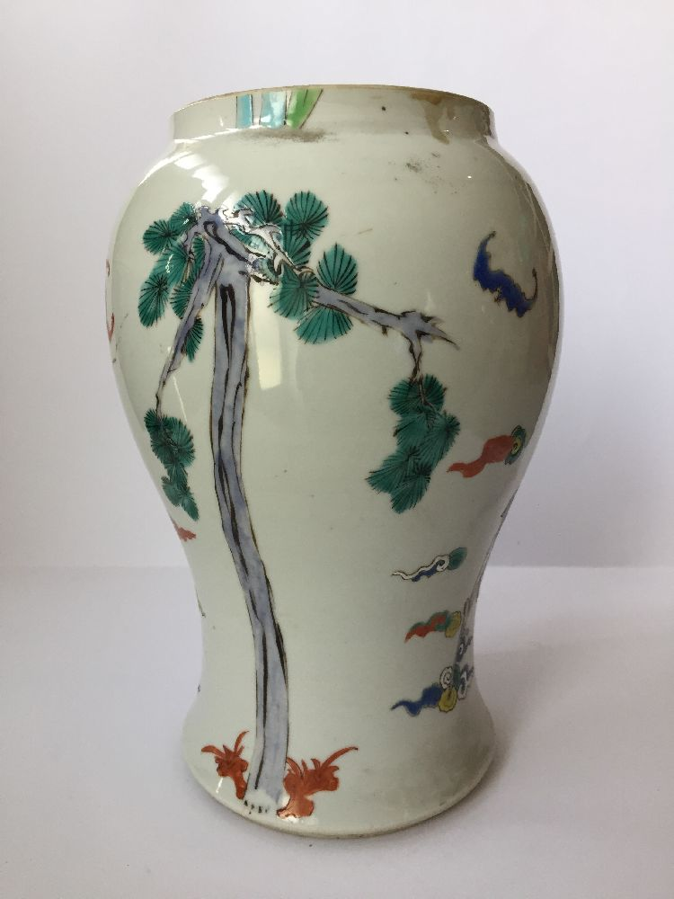 A pair of Chinese porcelain vases, Yongzheng period, painted in famille rose enamels with five of - Image 6 of 14