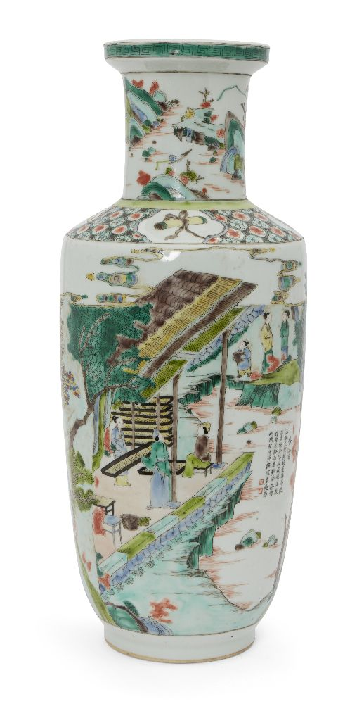A Chinese porcelain 'silk production' rouleau vase, late Qing dynasty/ Republic period, painted in
