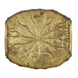 A Japanese repousse brass tray, c.1900, formed as a lilypad decorated with crabs, signed with