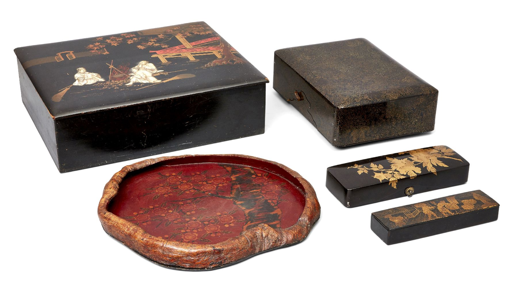 A collection of Japanese lacquer ware, 19th century, to include a large box inlaid with ivory