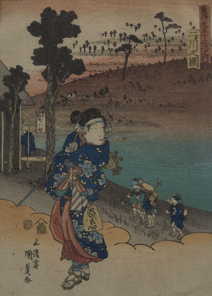 Utagawa Kunisada, Japanese 1786-1865, View of Futakawa, c.1839, woodblock print in colours, signed