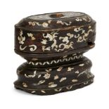 A Vietnamese lacquer wood and mother of pearl inlaid oval box and cover, 18th century, decorated