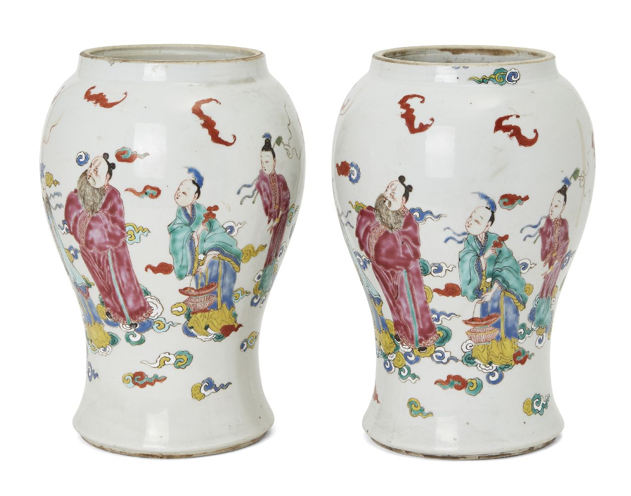 A pair of Chinese porcelain vases, Yongzheng period, painted in famille rose enamels with five of