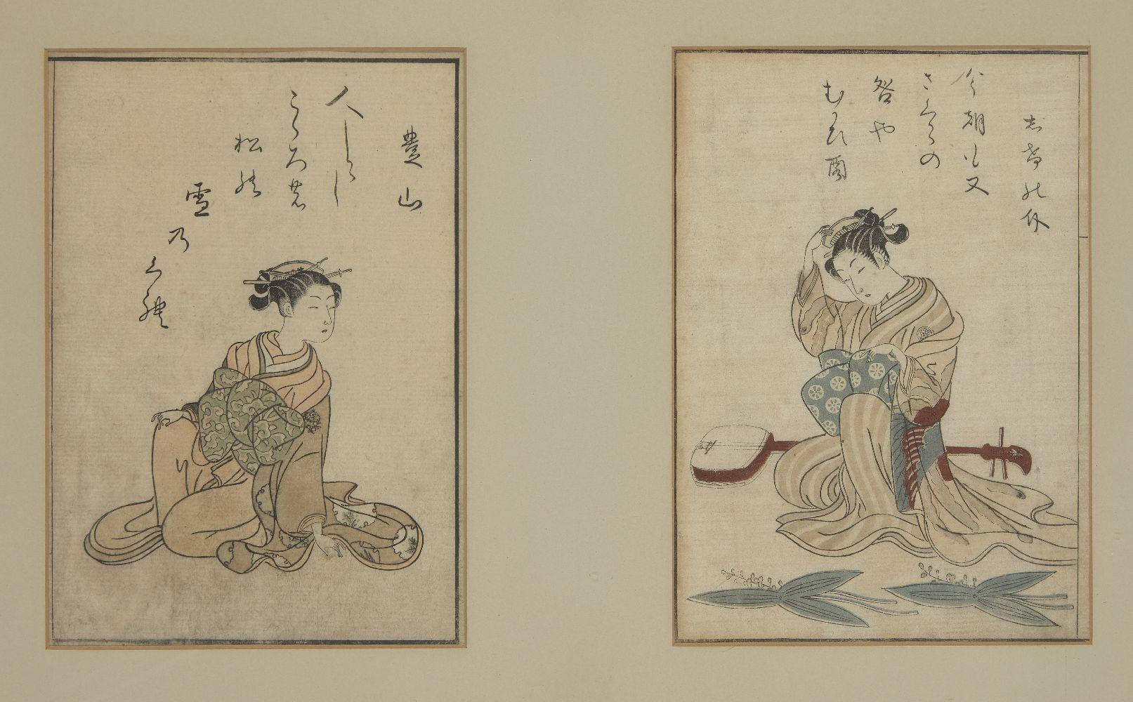 Suzuki Harunobu, Japanese c.1725-1770, two book plates from Ehon Seiro Awase, 1770, the left plate