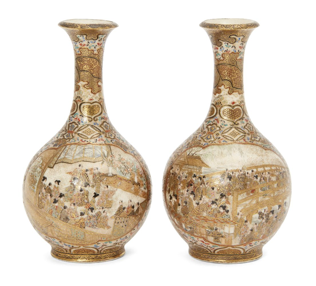 A pair of Japanese miniature Satsuma bottle vases by Hattori, late 19th century, finely decorated in