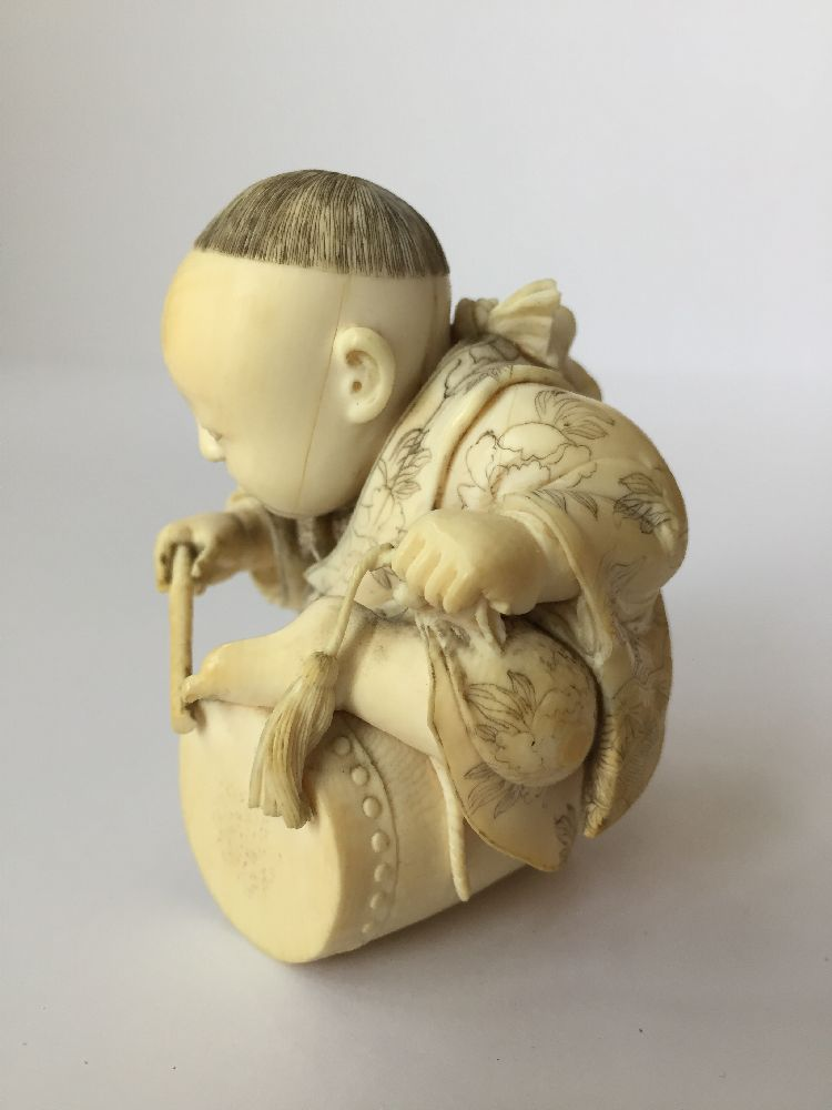 Four Japanese ivory okimono Meiji Period, to include a young boy playing a drum with polychrome - Image 6 of 15
