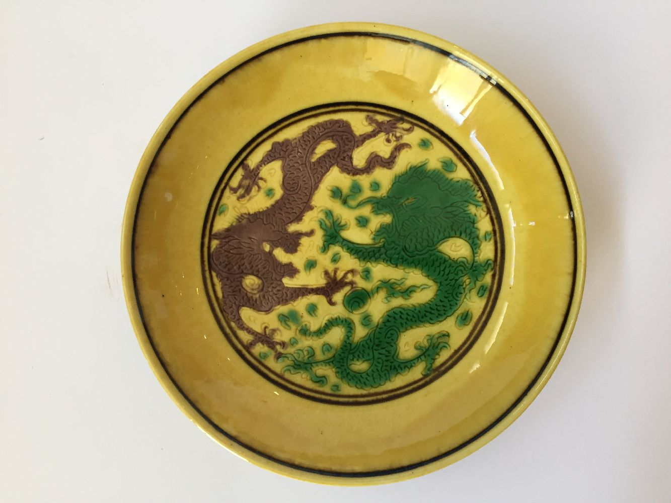 A Chinese yellow-ground aubergine and green-decorated saucer dish, Kangxi mark and of the period, - Image 5 of 13