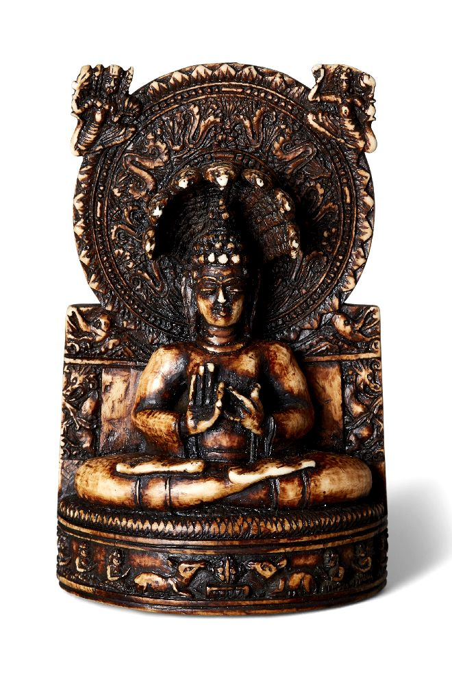 Property of a Gentleman (lots 36-85) An Indian ivory figure of Nagaraja, 19th century, carved seated