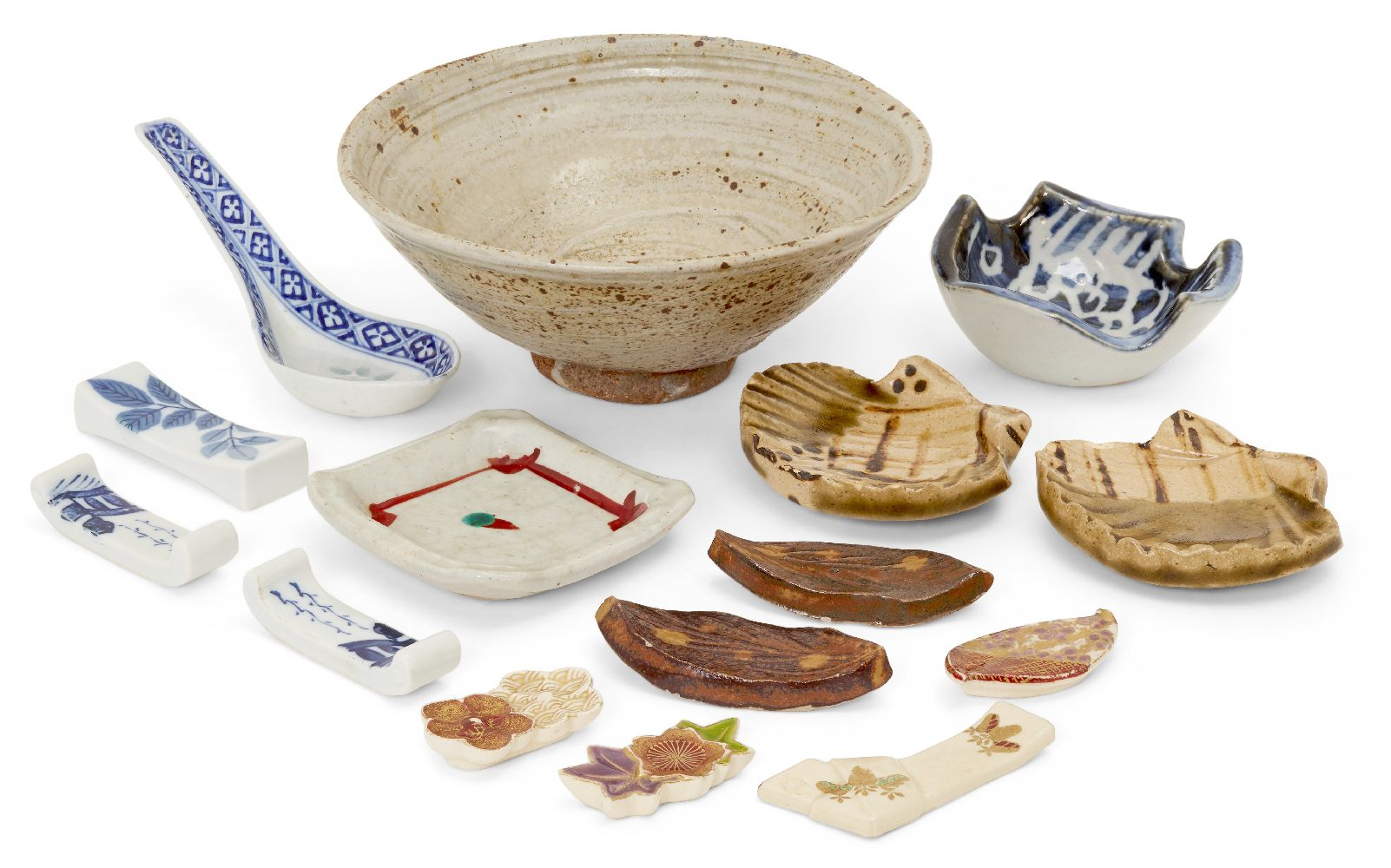 A collection of small Japanese studio pottery, 20th century, to include a pair of shell form