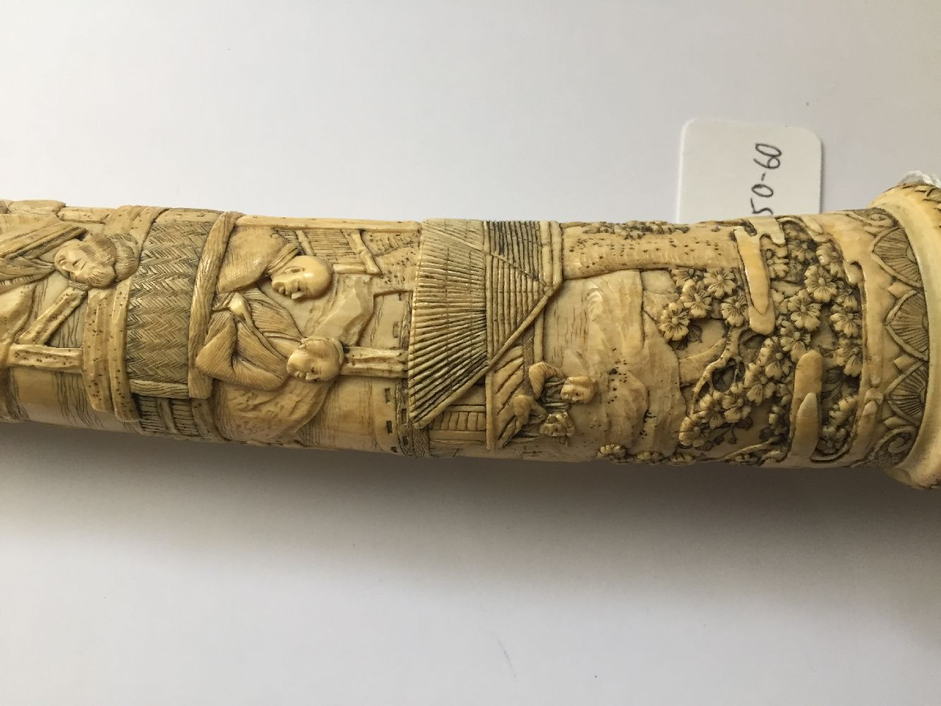 A Japanese carved ivory tanto, Meiji period, in slightly curved form, the scabbard and handle carved - Image 12 of 16
