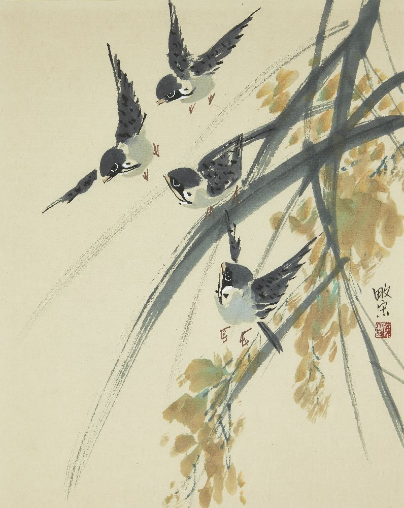 TAN THEAN SONG (Malaysian b. 1946), pair of watercolours, birds and foliage, signed, 38x30cm, in