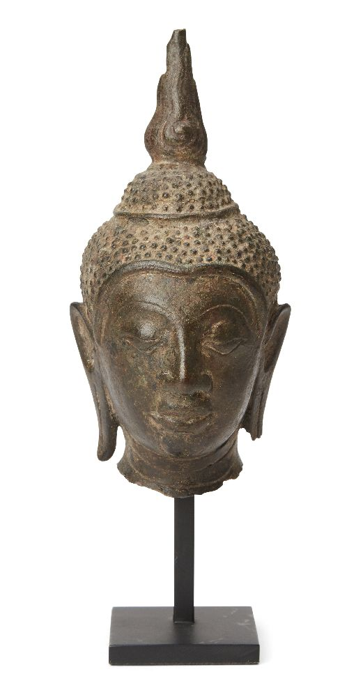 A Thai bronze head of Buddha, U-Thong style, 15th century, 14cm high Provenance: Private German
