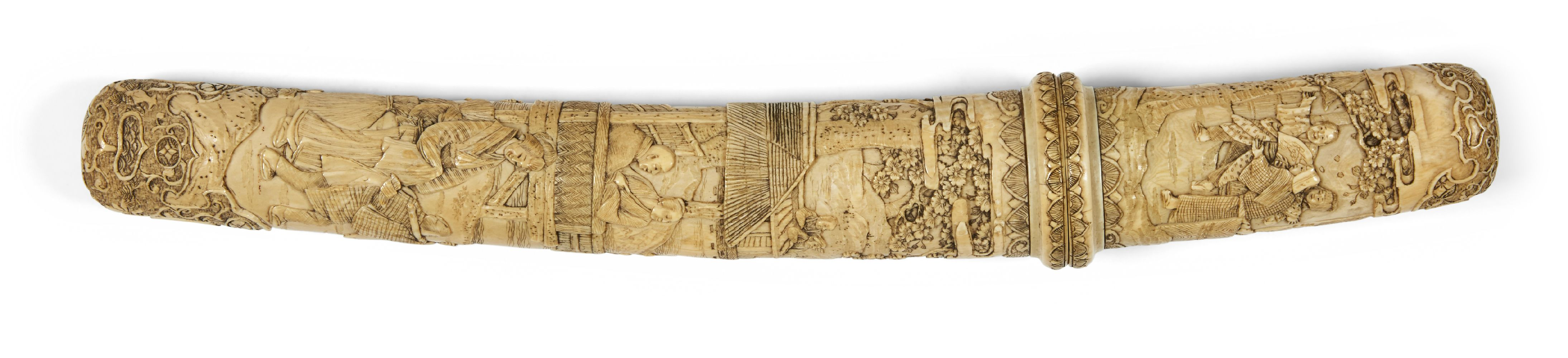 A Japanese carved ivory tanto, Meiji period, in slightly curved form, the scabbard and handle carved - Image 2 of 16