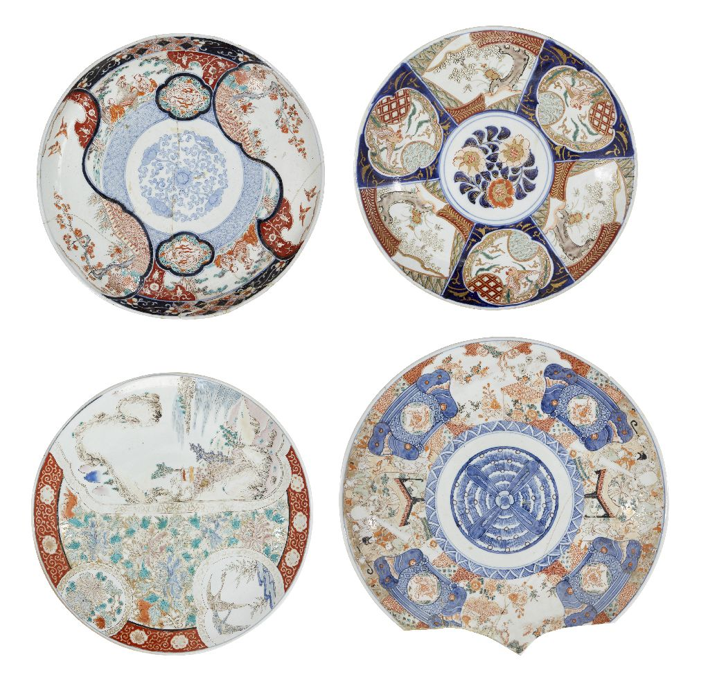 Four large Chinese porcelain Imari chargers, early 20th century, decorated with landscapes, figures,