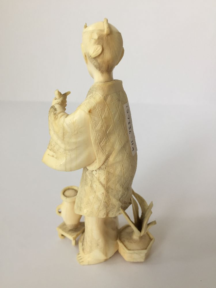 Four Japanese ivory okimono Meiji Period, to include a young boy playing a drum with polychrome - Image 9 of 15