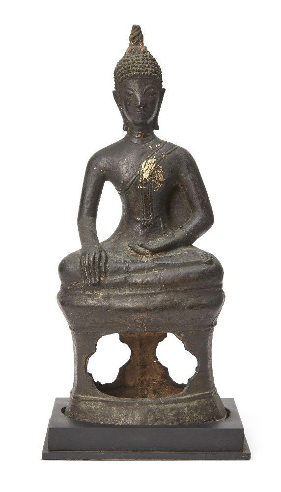 A Laos bronze Buddha, 19th century, seated in bhumisparsimudra (the gesture of 'summoning the