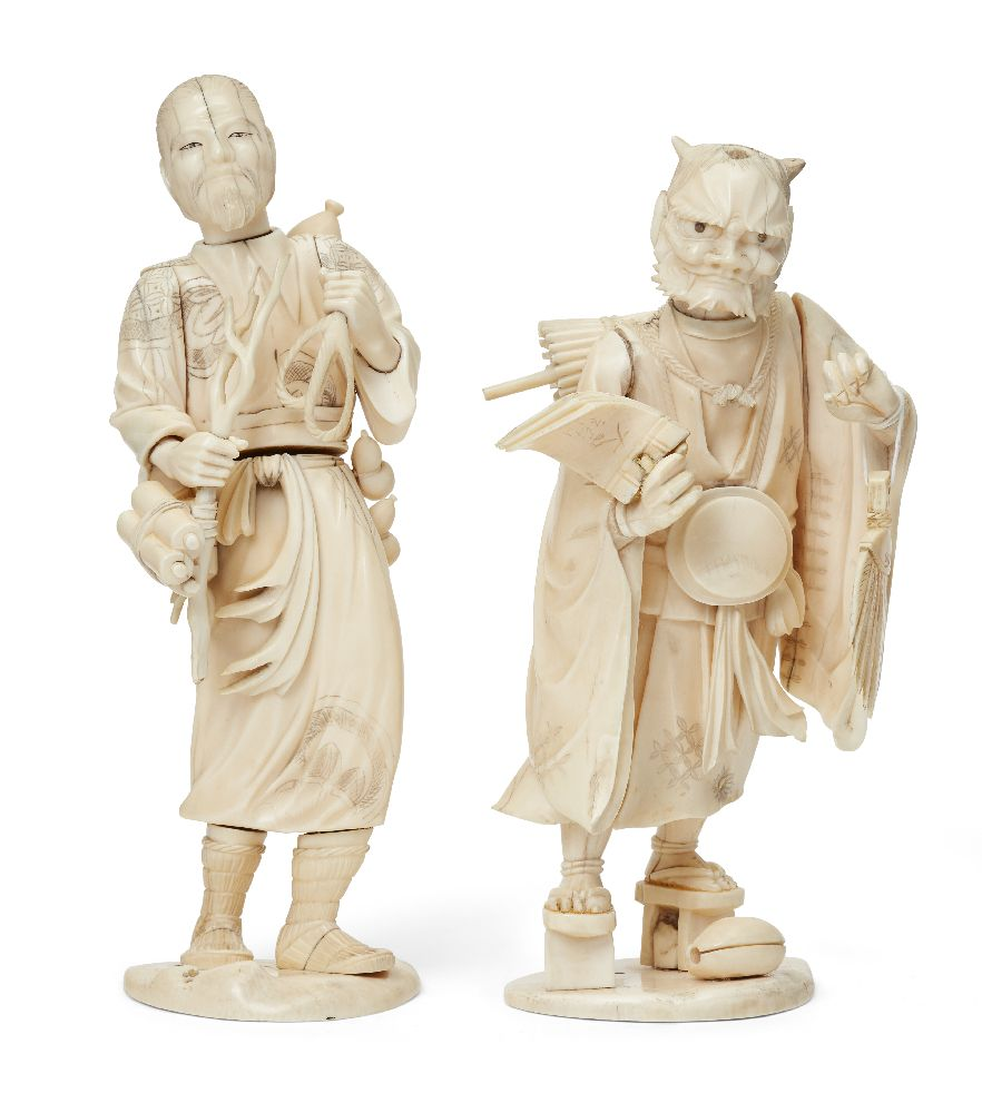 Two Japanese ivory okimono, Meiji Period, one carved as a man with staff and scrolls, a rope clasped