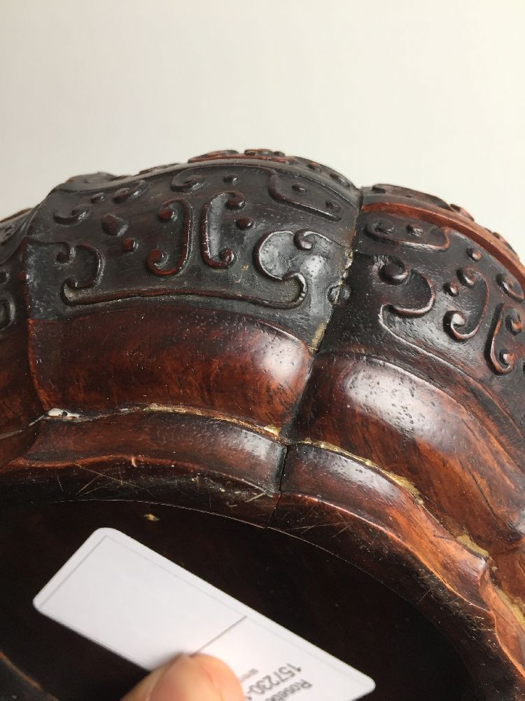 A Chinese carved suanzhi wood treasure box and cover, 18th/19th century, of decagonal lobed form - Image 6 of 24