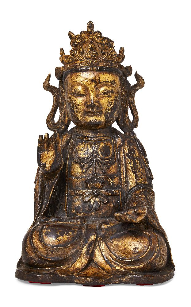 Property of a Gentleman (lots 36-85) A large Chinese gilt and lacquered bronze figure of Guanyin,