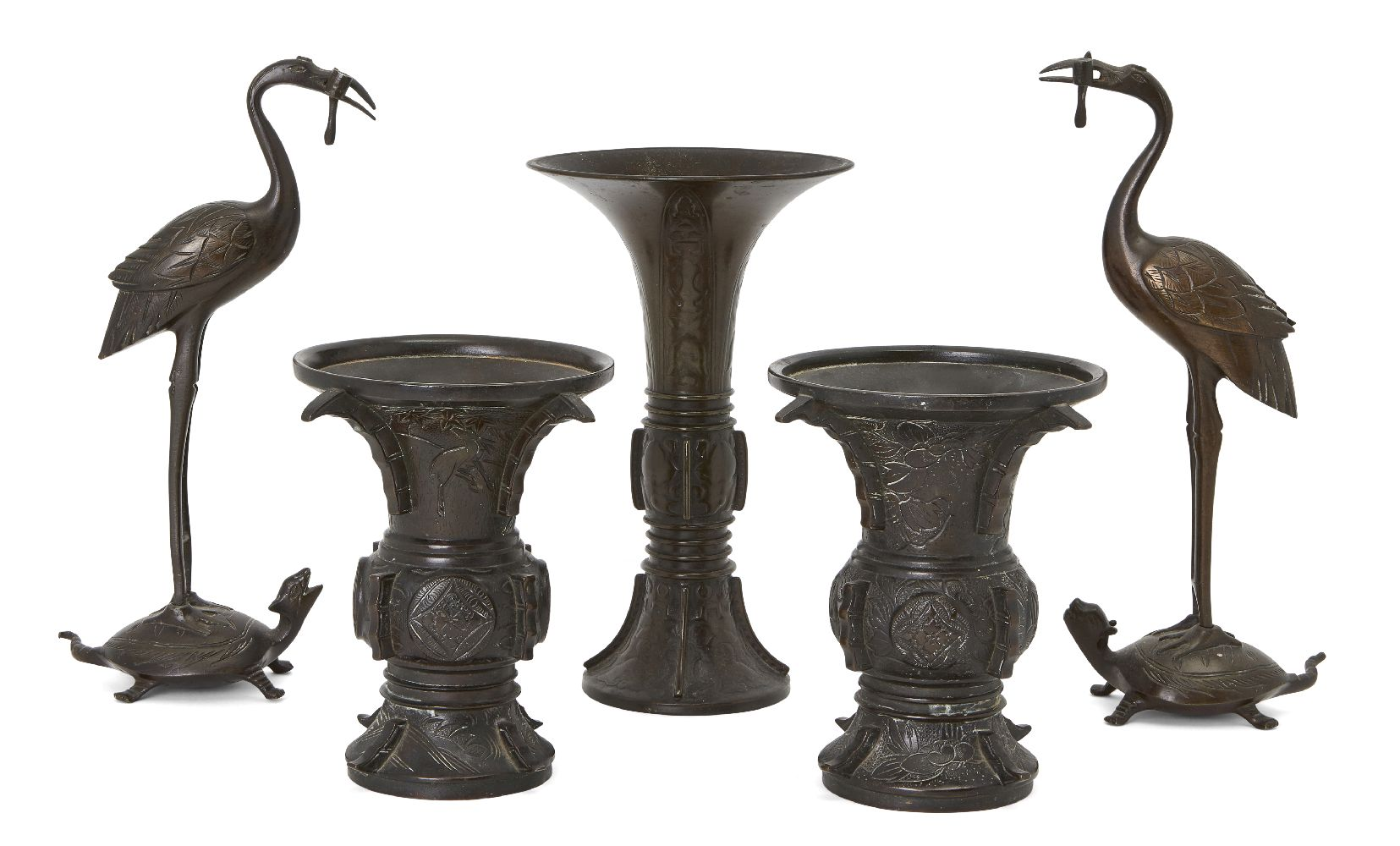 Five Japanese bronzes, Meiji period, comprising a pair of crane incense holders, 24cm high, a pair