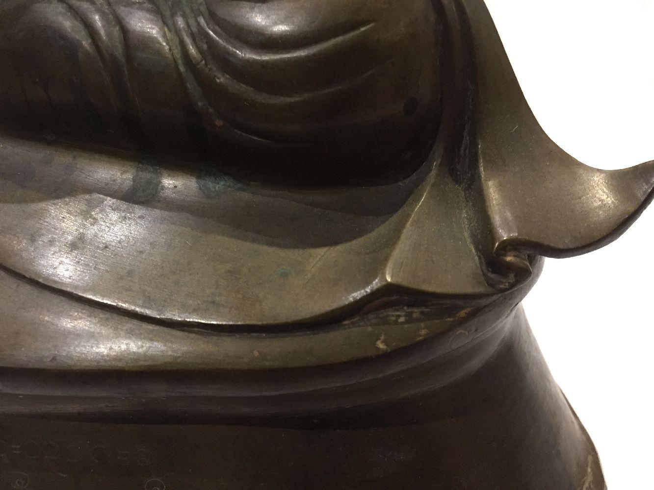 A Burmese bronze figure of Buddha, Mandalay period, 19th century, finely cast seated in vajrasana, - Image 5 of 28