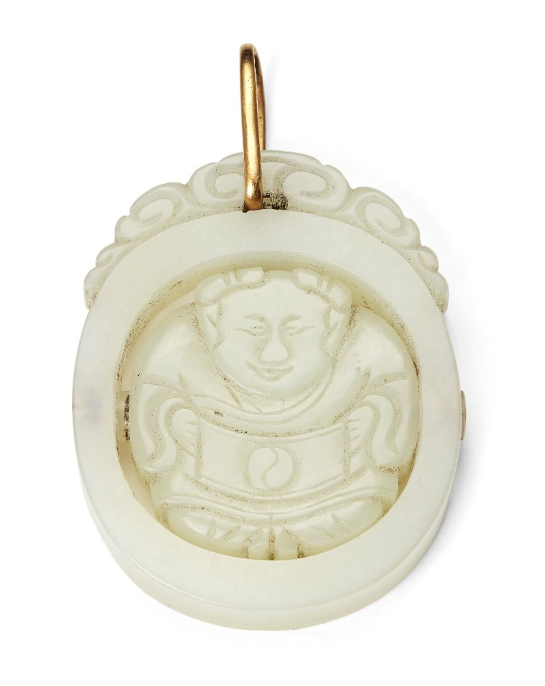 Property of a Gentleman (lots 36-85) A Chinese pale greenish-white jade rotating 'boy' pendant
