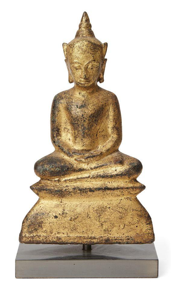 A Thai gilt bronze Buddha, Ayutthaya period, 17th century, seated in dhyanamudra, 16.5cm high