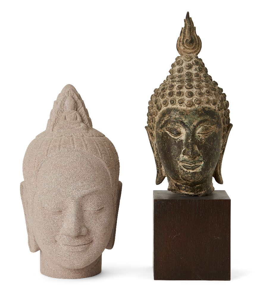 A Thai bronze head of Buddha, 17th/18th century, cast with flame finial above the ushnisha and
