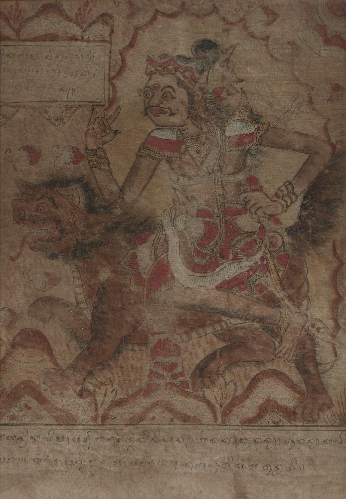 A set of five Balinese tempera on cloth paintings, 19th century, each depicting a mythical figure