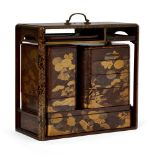 A Japanese lacquer picnic set, 19th century, lacquered in hiramaki-e and nashi ji with