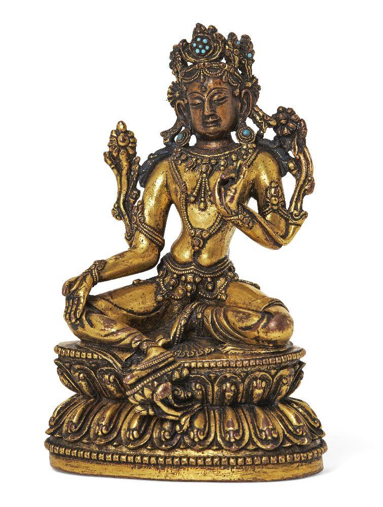 Property of a Gentleman (lots 36-85) A Sino-Tibetan gilt-bronze figure of Green Tara, 17th/18th