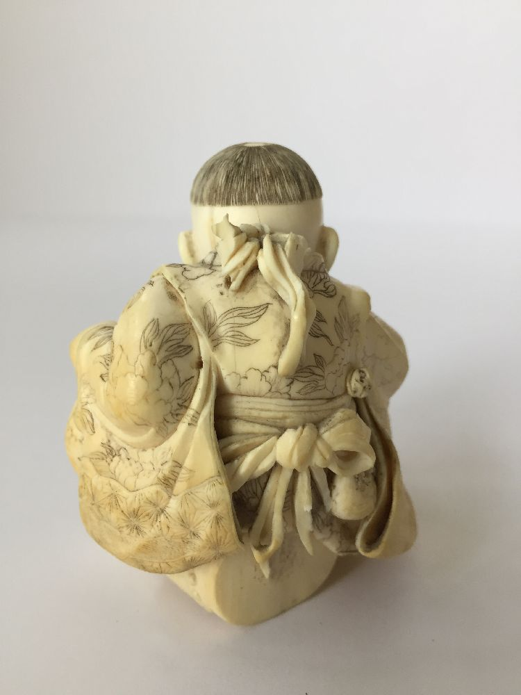 Four Japanese ivory okimono Meiji Period, to include a young boy playing a drum with polychrome - Image 4 of 15