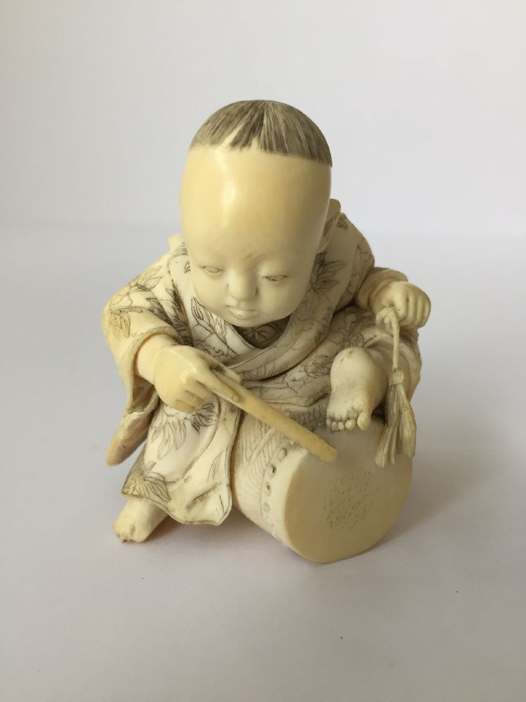 Four Japanese ivory okimono Meiji Period, to include a young boy playing a drum with polychrome - Image 3 of 15