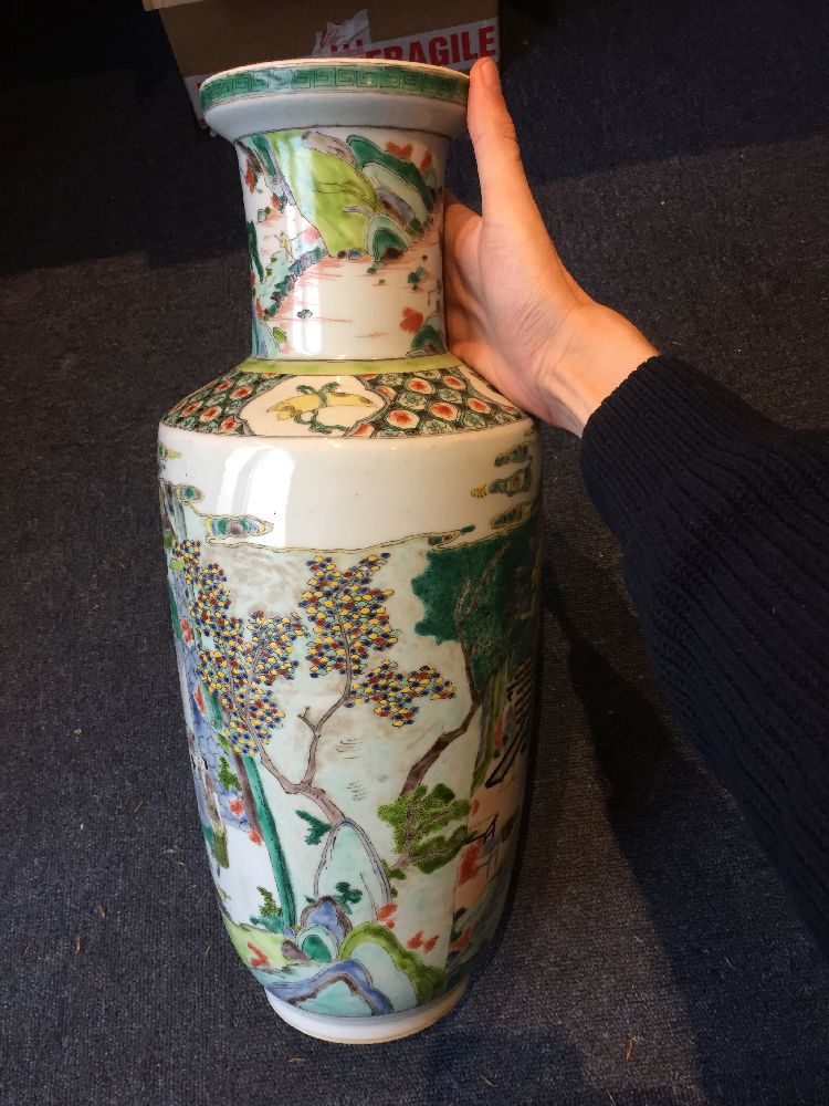 A Chinese porcelain 'silk production' rouleau vase, late Qing dynasty/ Republic period, painted in - Image 24 of 28