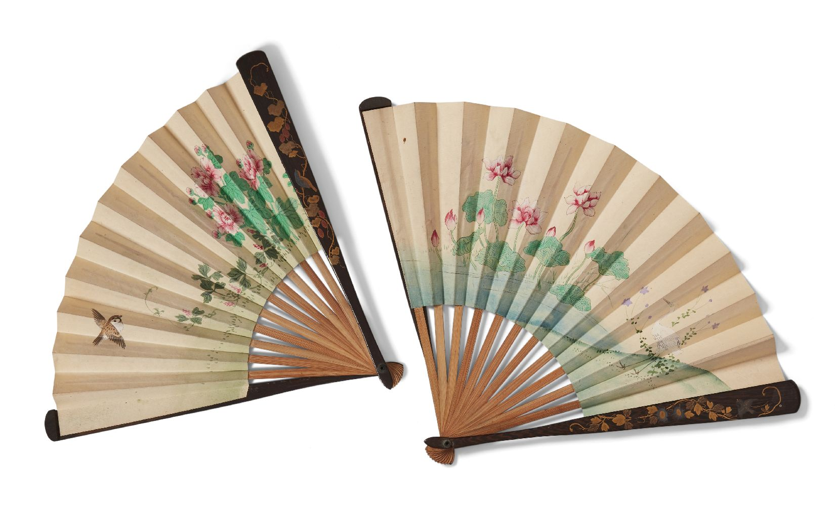Two Japanese painted paper fans, Meiji period, each with lacquer guard sticks decorated with